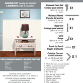 Wainscot Kit - Prefinished Ready to Install - Fauxwood White - Up to 8 Linear Ft. x 36 In. High