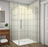 Avalux GS 40 Inch X 36 Inch X 72 Inch Completely Frameless Shower Enclosure With Glass Shelves In Chrome