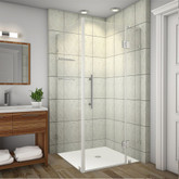 Avalux GS 32 Inch X 34 Inch X 72 Inch Completely Frameless Shower Enclosure With Glass Shelves In Stainless