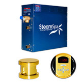 SteamSpa Oasis 4.5kw Steam Generator Package in Polished Brass