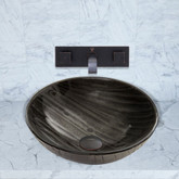 Antique Rubbed Bronze Interspace Glass Vessel Sink and Titus Faucet Set
