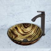 Antique Rubbed Bronze Zebra Glass Vessel Sink and Linus Faucet Set