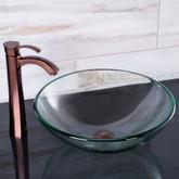 Oil Rubbed Bronze Crystalline Glass Vessel Sink and Otis Vessel Faucet Set