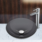 Chrome Sheer Black Glass Vessel Sink and Shadow Faucet Set