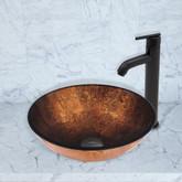 Matte Black Russet Glass Vessel Sink and Seville Faucet Set