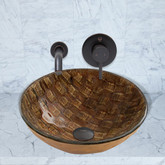 Antique Rubbed Bronze Playa Glass Vessel Sink and Olus Wall Mount Faucet Set