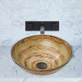 Antique Rubbed Bronze Mocha Swirl Glass Vessel Sink and Titus Wall Mount Faucet Set