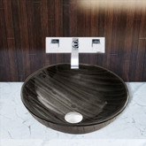 Chrome Interspace Glass Vessel Sink and Titus Faucet Set