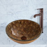 Oil Rubbed Bronze Playa Glass Vessel Sink and Seville Faucet Set