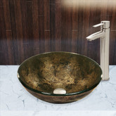 Brushed Nickel Sintra Glass Vessel Sink and Shadow Faucet Set