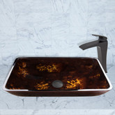 Matte Black Rectangular Brown and Gold Fusion Glass Vessel Sink and Blackstonian Faucet Set