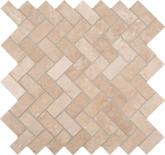 Travertine Herringbone 12 Inch x 12 Inch x 10mm Honed Travertine Mesh-mounted Mosaic Tile