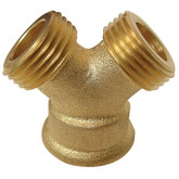 Brass  3-Way hose Wye (3/4 (2) Male x 3/4 Female)