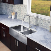 Stainless Steel All in One Farmhouse Double Bowl Kitchen Sink and Faucet Set 36 Inch