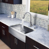Stainless Steel All in One Farmhouse Kitchen Sink and Faucet Set 33 Inch