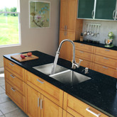 Stainless Steel All in One Undermount Double Bowl Kitchen Sink and Chrome Faucet Set 29 Inch