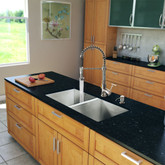 Stainless Steel All in One Undermount Double Bowl Kitchen Sink and Chrome Faucet Set 32 Inch