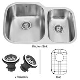 Stainless Steel Undermount Kitchen Sink Grid and Two Strainers 18 gauge 30 Inch