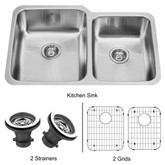 Stainless Steel Undermount Kitchen Sink Two Grids and Two Strainers 18 gauge 32 Inch