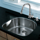 Stainless Steel All in One Undermount Kitchen Sink and Chrome Faucet Set 24 Inch