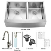 Stainless Steel Farmhouse Kitchen Sink Faucet Two Grids Two Strainers and Dispenser