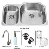Stainless Steel Undermount Kitchen Sink Faucet Two Grids Two Strainers and Dispenser