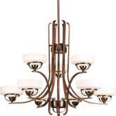 Torque Collection 9 Light Copper Bronze Chandelier