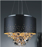 18 Inch Round Pendant Fixture With A Black Shade And Jagged Drop Center