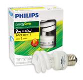 CFL 9W = 40W Mini Twister Soft White (2700K) - Case of 12 Bulbs