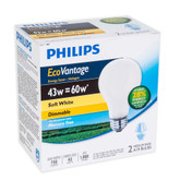 Eco Vantage 43W = 60W A-Line (A19) Soft White - 2 Pack