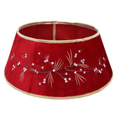 26 IN Velvet Tree Stand Collar - Red with Berries