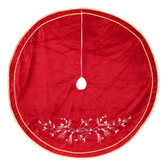 60 In Martha Stewart Living Velvet Tree Skirt With Berries Embroidery And Velvet Piping - Red/Gold
