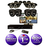 8 CH Surveillance System w/ 19 HD Monitor, 960H DVR, 1TB HDD, and (8) 800TVL Cameras