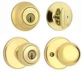Exterior locking Yukon knob single cylinder deadbolt - bright brass