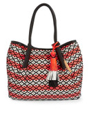 Vince Camuto Harlo Woven Leather Tote - CORAL