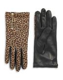 Diane Von Furstenberg Leopard Calf Hair and Leather Gloves - MINI LEOPARD/RED - 6.5