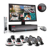 16-channel 1 TB H.264 DVR security system, with 4 indoor dome cameras and 4 bullet cameras