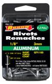 """Short aluminium 1/8"""" rivet - Pack of 100"""
