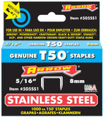 "5/16"" Stainless Steel Staple - 505SS1 T50"