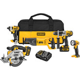 20V MAX 5 Tool  (DCD985, DCF885, DCS381 Recip, DCS393 Circ, DCL040) w/ 2 Batteries (3.0Ah) and Bag
