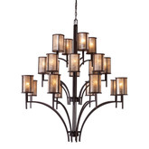 20-Light Ceiling Mount Aged Bronze Chandelier