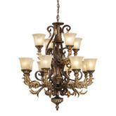 12 Light Ceiling Mount Burnt Bronze Chandelier