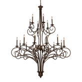 18- Light Ceiling Mount Antique Brass Chandelier