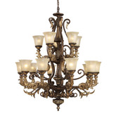 15 Light Ceiling Mount Burnt Bronze Chandelier