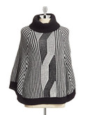 Calvin Klein Faux Cable Turtleneck Poncho - Black