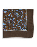 Black Brown 1826 Wool Paisley Pocket Square with Border - Copper