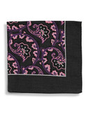 Black Brown 1826 Wool Paisley Pocket Square with Border - Purple