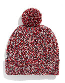 Black Brown 1826 Chunky Knit Tweed Pom Pom Hat - Red