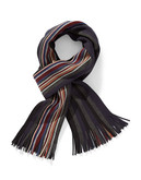 Black Brown 1826 Irregular Striped Scarf - Blue