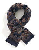 Black Brown 1826 Fair Isle Scarf - Blue